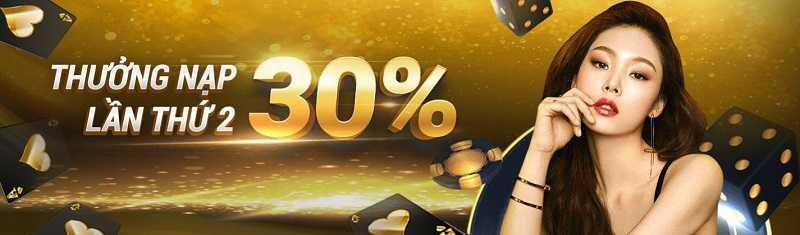 khuyến mãi thưởng 30% lần nạp thứ 2