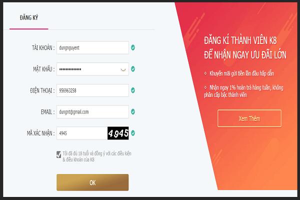 Link đăng ký K8vina51, k8vina18 mới nhất chuẩn nhất từ nhà cái