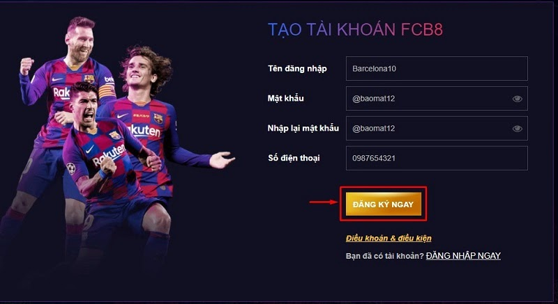 đăng ký tài khoản FCB8